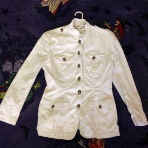 Vintage DKNY Jeans Size 10 White Denim Jacket 90s